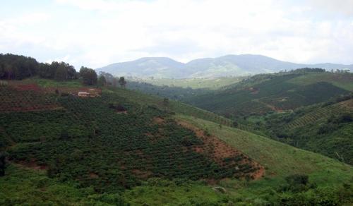 Bên đường đi Kon dơng. Theo bản đồ thì dãy núi phia xa là vườn quốc gia Kon Ka Kinh